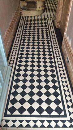 Victorian Flooring, Victorian Tiles, Entrance Hall Decor, Porch Tile, Narrow Hallway Decorating, Tiled Hallway, Hall Flooring, Monochrome Interior, Hallway Designs