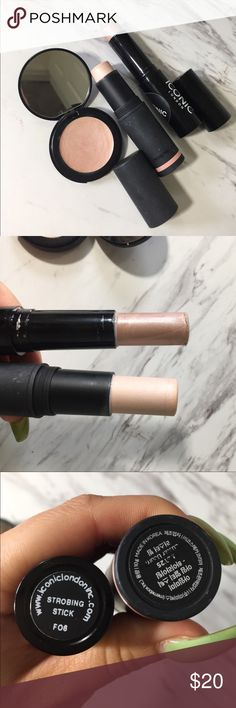Cream Highlighter Product Bundle Sold together. All used only once. Stick highlighter (Meme), stick highlighter (iconic London), cream highlighter (Doll 10) Iconic London Makeup Luminizer