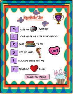 Check Out The Latest Mothers Day Pictureswallpapers And Images For Free Downloading Mothers Day Acrostic Poem Printable Is A Day For Honoring Mothers
