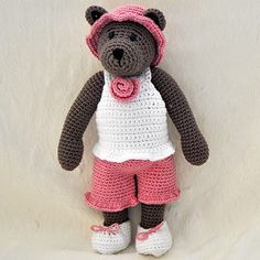 Instant Download - PDF Crochet Pattern - 10 inch Bear and Outfits 2 - top, shorts, hat and shoes