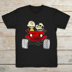 Snoopy And Charlie Brown In Jeep Funny Black T-shirt - Snoopy - Snoopy And Charlie Brown In Jeep Funny Black T-shirt Price : Black And White T Shirts, Black And White Man, Black Men, Jeep Humor, Jeep Funny, Snoopy Family, Snoopy Dog House, Peanuts T Shirts, Dog Branding