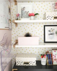 Workspace goals featuring the Goldidots Removable wallpaper from WallsNeedLove