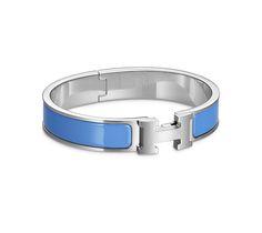 Clic H Armreif aus Email in Transatlantikblau und mit Palladiumauflage (Durchmesser: 6,5 cm)
