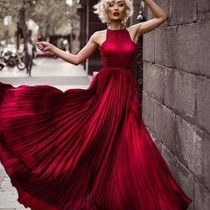 Gorgeous Dark Red Long A-Line Prom Dress Evening Dress 51953 on Luulla