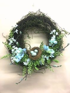 Blue Hydrangea Wreath with Nest, From the Baby Blues Hydrangea Collection Hydrangea Wreath, Blue Hydrangea, Shell Wreath, Nifty Crafts, Summer Wreath, Spring Wreaths, Diy Wreath, Door Wreaths, Spring Blooms