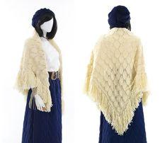 Ivory Fringe Shawl Wrap Large Vintage Knit Scarf