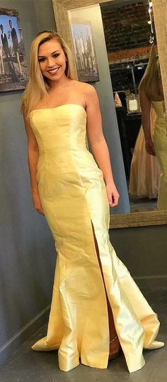 elegant strapless yellow mermaid long formal evening dress with side slit