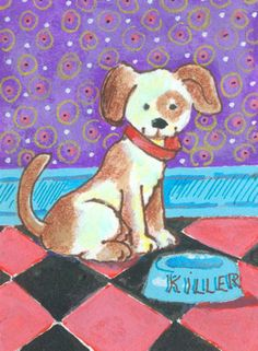 #ACEO Original Art Puppy Dog Dinner Bowl Purple Pink  Black