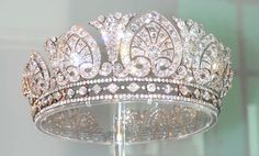 The Devonshire Tiara also known as the Derby tiara was made for the wife of the 8th Duke of Devonshire, Countess Louise von Alten. She was known as the 'Double Duchess', as she had previously been married to the Duke of Manchester. The tiara is designed as a graduated row of thirteen scrolled palmette motifs, alternating with lotus motifs. These can be removed and worn as individual brooches and other ornaments.