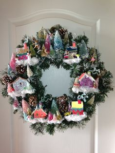 Vintage Christmas, Putz House Village Wreath, Bottle Brush Trees, Putz House, Pink Christmas Decor, Miniature Village House, MADE TO ORDER by laughterandlemondrop on Etsy