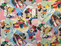 Minnie Mouse Sheet Vtg Disney Twin Flat Fitted Pacific Phone Cheerleader Beach