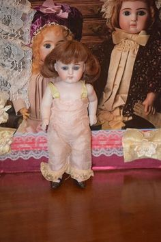 Antique Doll All Bisque Large Kestner Pink Stockings 9 Tall