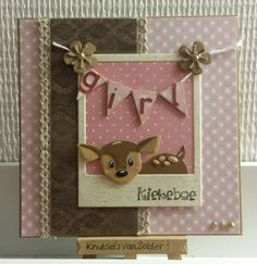 knutsels van zolder: kiekeboe Baby Book Pages, Marianne Design Cards, Baby Christening, Baby Shower Cards, Tag Design, Animal Cards, Baby Crafts, Card Tags, Cool Cards