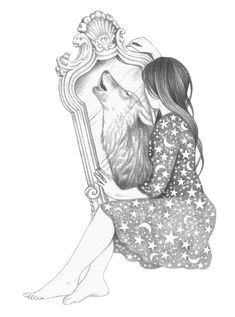 Mirror Art Print by andreahrnjak Sick Drawings, Pencil Art Drawings, Art Drawings Sketches, Animal Drawings, Wolf Canvas, Canvas Art, Wolf Sketch, Wolves And Women, Wolf Painting