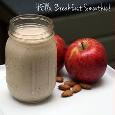 Start the Day Right With Harley Pasternak's Breakfast Smoothie (tastes like Apple Pie) 5 raw almonds 1 red apple 1 banana 3/4 cup nonfat Greek yogurt 1/2 cup nonfat milk 1/4 teaspoon cinnamon