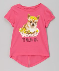 Take a look at this Atomic Pink 'I'm Nacho Dog' Tee - Girls by Jerry Leigh on today! Nachos, Toddler Girl, Little Girls, Kids Fashion, Infant, That Look, Cute Outfits, Tees, Pink