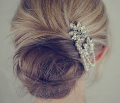 Wedding hair accessories | ELLE UK Jules Bridal Jewellary, Vintage Style Hair Comb, £93.94 Gives the pearl and rhinestone look I want.