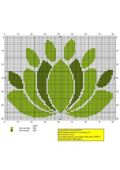 Lotus vert Cross Stitch Bookmarks, Cross Stitch Charts, Cross Stitch Designs, Cross Stitch Patterns, Needlepoint Patterns, Embroidery Patterns, Cross Stitching, Cross Stitch Embroidery, Modele Pixel Art
