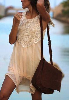 Lace Panel On Cream Tulle Dress   Beautiful Womens Fashion