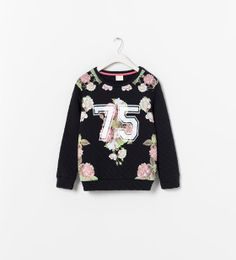 Image 1 of QUILTED FLORAL SWEATSHIRT from Zara