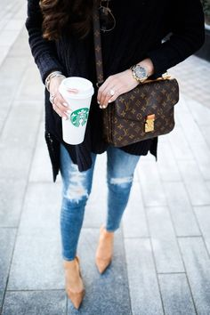 AG jeans ankle skinny, free people oversized cable knit sweater, manolo blahnik suede tan pumps, louis vuitton pochette metis, michael kors watch with black face, winter fashion pinterest, winter outfit idea pinterest, henri bendel engagement ring, david yurman bracelet stack