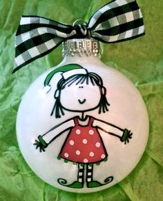 Elf Ornament  Hand Painted and Personalized  by HappyYouHappyMe