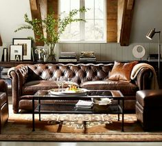 Fresh feeling room with brown leather sofa