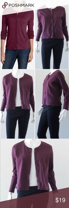 """Eddie Bauer Solid Cardigan Sweater #1 Pre-owned in very good condition. This versatile bestselling crewneck cardigan is  both functional and refined. Fine-gauge cotton/spandex materials provide soft comfort and excellent shape-retention.  95%cotton/5% spandex Machine wash Imported. The most universal fit. Not too slim, not too relaxed on body. Approximate measurements (laid flat measured across): Chest 19.5"""", Waist 18"""", Shoulder to Shoulder 15"""", Back Length 21"""", Sleeve 22"""". Eddie Bauer…"""