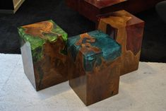 Modern Fractal Resin and Teak Stool or Side Table | From a unique collection of antique and modern stools at https://www.1stdibs.com/furniture/seating/stools/
