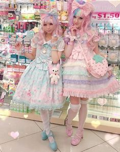 Ruffles, pastels, or dark rich colors can make for a sweet or gothic Lolita inspired outfit. Estilo Goth Pastel, Pastel Goth Fashion, Kawaii Fashion, Lolita Fashion, Cute Fashion, Pink Fashion, Fashion Types, Fashion Quiz, Fashion Kids
