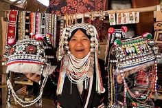 Thailand, Golden Triangle, Chiang Mai, Akha Hilltribe Lady Wearing ...