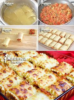 Mince Roll Lasagne Rezept wie man es macht weibliche Rezepte Tavuk tarifleri - Pratik Hızlı ve Kolay Yemek Tarifleri Iftar, Good Food, Yummy Food, Baked Spaghetti, Arabic Food, Turkish Recipes, Macaron, Food And Drink, Dessert Recipes