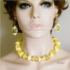 Hobe Necklace Earrings Yellow Beaded Vintage Jewelry Set