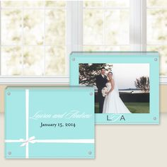 Tiffany blue personalized lucite frame