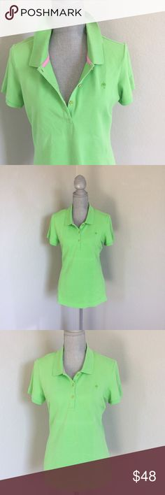 Lilly Pulitzer Chic Fit Green Polo Size Large NWOT Lilly Pulitzer Chic Fit Green Polo in Size Large. L. New without tags. Features green and gold buttons, pink piping, and palm tree. Short sleeve. 97% Pima Cotton, 3% Spandex. Lilly Pulitzer Tops Tees - Short Sleeve