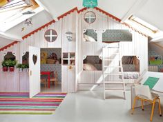 Absolutely love this for my toddler! The loft of happiness. Slope Attic idea. Toddler Bed & Play Space.