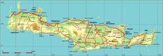 Carte routière de Crête - distances - sites