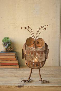 iron owl candle lantern  $49.00