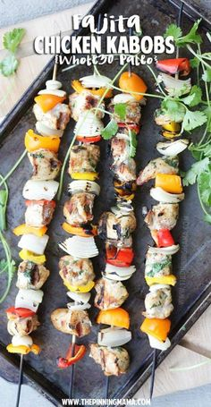 Paleo + Whole30 Recipe: Fajita Kabobs on the grill. This is perfect for when we have company because everyone can customize their own!