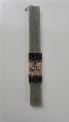 Handmade easter candle with metalic bird