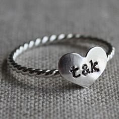 true love stacking ring - sterling silver stamped with couples initials by amycornwell on Etsy https://www.etsy.com/listing/66239204/true-love-ring-sterling-silver-and