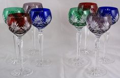 """AJKA """"Caroline"""" Crystal Cut to Clear Wine Hock Goblets hand cut, 24% lead crystal goblets. The goblets are made of a 'cut-to-clear' cased crystal.  Colors include: Cobalt Blue, Ruby Red, Emerald Green, and Amethyst Purple.  The measurement of each goblet is 8 3/8"""""""