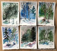 Winter Woodland Watercolor Tutorial — Scratchmade Journal - Watercolors of winter woodland landscape scenes – ScratchmadeJourna… - Watercolor Art Landscape, Watercolor Art Diy, Watercolor Art Paintings, Watercolor Trees, Watercolour Tutorials, Painting & Drawing, Watercolors, Watercolor Art Lessons, Painting Lessons