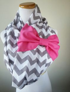 Pink Bow Gray Chevron Infinity scarf, jersey zigzag knit scarf.  15% off promo code: PIN15OFF