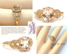 Oval Morganite Engagement Ring Diamond Wedding 14K Rose Gold 7x9mm Laurel Wreath - Lord of Gem Rings - 1