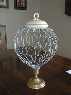 "Tutorial to make this chicken wire apothecary ""jar"""