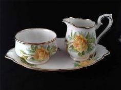 Royal Albert Yellow TEA ROSE Sugar Bowl and Creamer on Regal Tray *England*
