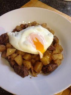 : Steak and eggs hash