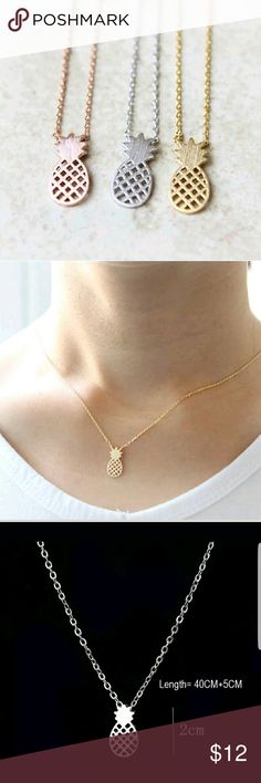 Pineapple charm necklace - silver, gold or Rose gold plated - High quality hand-made item -cute and simple design for a very unique look -great gift idea! *Metal:Alloy with silver, gold or Rose gold plating *Pendant Size:2-3CM Approx *Chain Type: Link Chain, silver chains are solid 925 silver not plated; rose gold and gold chains are plated 10k J & B hand-made Jewelry Necklaces #rosegoldnecklace
