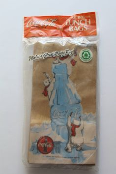 Vintage Coca Cola Polar Bear Brown Paper Lunch Bags 1997 by WylieOwlVintage on Etsy
